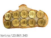 Купить «Бутерброд с монетами 10 рублей», фото № 23861343, снято 31 января 2016 г. (c) Евгений Ткачёв / Фотобанк Лори