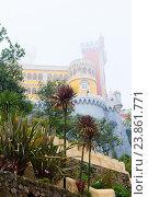 Дворец Пена (Palacio Nacional da Pena) окутанный сильным туманом в осенний день. Синтра. Португалия (2016 год). Стоковое фото, фотограф E. O. / Фотобанк Лори