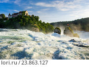 Купить «The Rhine Falls with the Laufen castle, Switzerland», фото № 23863127, снято 6 июля 2016 г. (c) age Fotostock / Фотобанк Лори