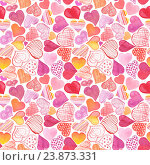 Купить «Бесшовный фон с акварельными сердечками», фото № 23873331, снято 17 февраля 2020 г. (c) Наталия Пыжова / Фотобанк Лори
