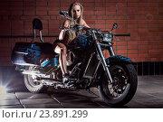 Купить «Bike. Sexy girl with perfect body», фото № 23891299, снято 25 мая 2014 г. (c) easy Fotostock / Фотобанк Лори