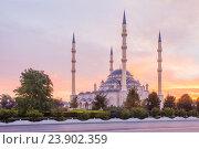 Грозный. Центральная мечеть Сердце Чечни имени Ахмата Кадырова на рассвете (2016 год). Стоковое фото, фотограф Литвяк Игорь / Фотобанк Лори