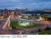 Купить «Санкт-Петербург. Вид сверху Ледовый дворец», эксклюзивное фото № 23902391, снято 15 сентября 2016 г. (c) Литвяк Игорь / Фотобанк Лори