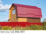 Купить «Строительство деревянного дома», фото № 23906991, снято 6 сентября 2016 г. (c) Дмитрий Тищенко / Фотобанк Лори