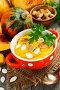 Тыквенный суп со сливками и сухариками на обеденном столе, фото № 23909779, снято 24 октября 2016 г. (c) Надежда Мишкова / Фотобанк Лори