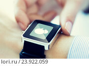 Купить «close up of hands with message icon on smartwatch», фото № 23922059, снято 13 августа 2015 г. (c) Syda Productions / Фотобанк Лори
