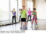 Купить «group of smiling people exercising with dumbbells», фото № 23922279, снято 5 апреля 2015 г. (c) Syda Productions / Фотобанк Лори