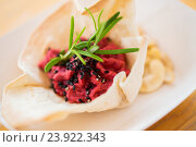 Купить «close up of dough cornet with beetroot filling», фото № 23922343, снято 11 июня 2016 г. (c) Syda Productions / Фотобанк Лори