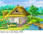Купить «Украинская традиционная хата в осенний солнечный день», иллюстрация № 23922791 (c) Sergii Zarev / Фотобанк Лори
