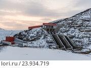 Купить «Колымская ГЭС, зима», фото № 23934719, снято 14 ноября 2019 г. (c) Антон Афанасьев / Фотобанк Лори