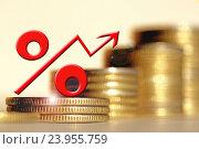 Купить «Красный знак процента на фоне денег .  Концепция изменения банковских ставок .», фото № 23955759, снято 22 октября 2016 г. (c) Сергеев Валерий / Фотобанк Лори
