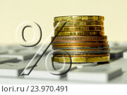 Купить «Знак процента на фоне денег и клавиатуры», фото № 23970491, снято 12 февраля 2016 г. (c) Сергеев Валерий / Фотобанк Лори