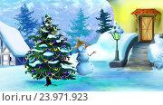 Купить «Прекрасный день со Снеговиком и Рождественской елкой», видеоролик № 23971923, снято 26 октября 2016 г. (c) Sergii Zarev / Фотобанк Лори