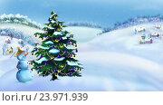 Купить «Снеговик и елка в прекрасный зимний день», видеоролик № 23971939, снято 26 октября 2016 г. (c) Sergii Zarev / Фотобанк Лори