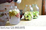 Купить «Woman prepares conserved stewed fruit for winter», видеоролик № 23993815, снято 23 июля 2016 г. (c) Володина Ольга / Фотобанк Лори