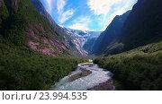 Купить «Beautiful Nature Norway Glacier Kjenndalsbreen.», видеоролик № 23994535, снято 25 октября 2016 г. (c) Андрей Армягов / Фотобанк Лори