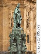 Купить «Памятник королю Карлу IV в Праге рядом с Карловым мостом (Чехия)», фото № 23995775, снято 14 апреля 2014 г. (c) Хименков Николай / Фотобанк Лори