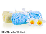 close-up terrycloth towels and flowers on a white background. Стоковое фото, фотограф Константин Лабунский / Фотобанк Лори