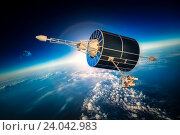 Купить «Space satellite over the planet earth», фото № 24042983, снято 9 февраля 2013 г. (c) Андрей Армягов / Фотобанк Лори