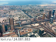 Панорама с высотными зданиями, дорогами и развязками. Дубай, ОАЭ. Стоковое фото, фотограф Сергей Носов / Фотобанк Лори