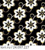 Купить «Бесшовный черный цветочный узор», иллюстрация № 24097227 (c) Ольга Дроздова / Фотобанк Лори