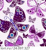 Купить «Фон с рисунками фиолетовых бабочек», иллюстрация № 24097327 (c) Ольга Дроздова / Фотобанк Лори