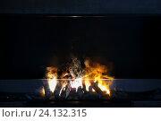 Купить «flame of firewood burning in modern fireplace», фото № 24132315, снято 13 апреля 2015 г. (c) Syda Productions / Фотобанк Лори