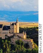 Spain, Castile and Leon, Segovia, View of the Alcazar. Стоковое фото, фотограф Karol Kozlowski / age Fotostock / Фотобанк Лори