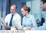 Купить «business people with papers meeting in office», фото № 24144579, снято 25 октября 2014 г. (c) Syda Productions / Фотобанк Лори