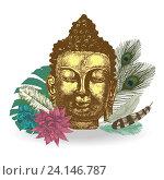 Голова Будды с листьями и перьями. Стоковая иллюстрация, иллюстратор Irene Shumay / Фотобанк Лори
