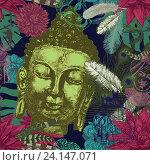 Голова Будды с листьями и перьями на бесшовном фоне. Стоковая иллюстрация, иллюстратор Irene Shumay / Фотобанк Лори