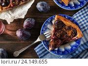 Купить «Сливовый пирог с корицей», фото № 24149655, снято 6 сентября 2016 г. (c) Сергей Вольченко / Фотобанк Лори