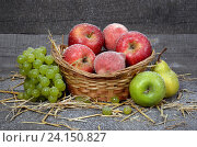 Корзина с яблоками, грушами, виноградом на деревянном фоне с соломой и падающим снегом. Стоковое фото, фотограф Беляева Юлия / Фотобанк Лори