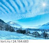 Купить «Winter mountain sunshiny village (Austria).», фото № 24164683, снято 30 декабря 2012 г. (c) Юрий Брыкайло / Фотобанк Лори