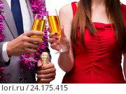 Купить «Office christmas celebration with glasses of champagne», фото № 24175415, снято 3 октября 2016 г. (c) Elnur / Фотобанк Лори