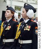 Купить «Девушки-кадеты из кадетского корпуса полиции», фото № 24178951, снято 28 апреля 2014 г. (c) Free Wind / Фотобанк Лори