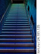 Купить «Лестница со светящимися ступенями», фото № 24181135, снято 1 октября 2016 г. (c) Юрий Плющев / Фотобанк Лори