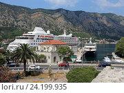 Купить «Морской порт с кораблями, Котор, Черногория», эксклюзивное фото № 24199935, снято 24 июля 2015 г. (c) Алексей Гусев / Фотобанк Лори
