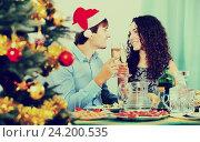 Купить «Couple celebrating New Year», фото № 24200535, снято 20 февраля 2018 г. (c) Яков Филимонов / Фотобанк Лори