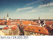 Купить «Old town of Tallinn panoramic skyline», фото № 24203351, снято 2 мая 2016 г. (c) EugeneSergeev / Фотобанк Лори