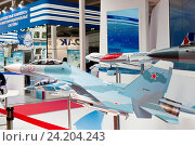 Модели самолетов на выставочной экспозиции Объединенной авиастроительной экспозиции (2016 год). Редакционное фото, фотограф Елена Олешко / Фотобанк Лори