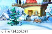 Купить «Рождественская елка и снеговик возле сказочного домика», иллюстрация № 24206391 (c) Sergii Zarev / Фотобанк Лори