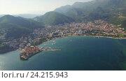 Купить «Вид с воздуха на Старую Будву в Черногории», видеоролик № 24215943, снято 28 мая 2016 г. (c) Иван Кузнецов / Фотобанк Лори