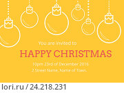 Купить «Christmas Invitation on yellow Background Design», фото № 24218231, снято 16 июня 2019 г. (c) Wavebreak Media / Фотобанк Лори