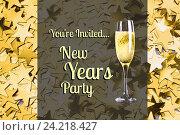 Купить «New year Message and Champagne on Gold Star Background Design», фото № 24218427, снято 19 февраля 2019 г. (c) Wavebreak Media / Фотобанк Лори