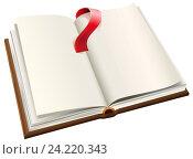 Купить «Открытая книга с чистыми пустыми листами и красной закладкой», иллюстрация № 24220343 (c) Алексей Григорьев / Фотобанк Лори