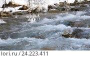 Купить «Река в снежном лесу, Черногория», видеоролик № 24223411, снято 21 января 2016 г. (c) Иван Кузнецов / Фотобанк Лори
