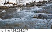 Купить «Река в снежном лесу, Черногория», видеоролик № 24224247, снято 21 января 2016 г. (c) Иван Кузнецов / Фотобанк Лори