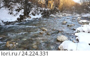 Купить «Река в снежном лесу, Черногория», видеоролик № 24224331, снято 21 января 2016 г. (c) Иван Кузнецов / Фотобанк Лори