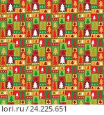 Купить «Зимний бесшовный фон с елками», иллюстрация № 24225651 (c) Миронова Анастасия / Фотобанк Лори